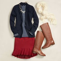 Tops, scarf, boots