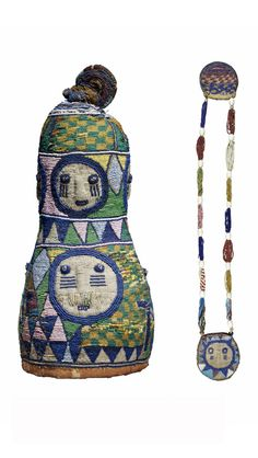 Africa | Diviner's headdress and necklace from the Yoruba people of Nigeria | Leather, cloth and glass beads