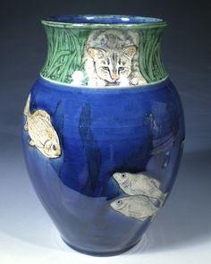 Cat at the Pond Vase by Nan Hamilton