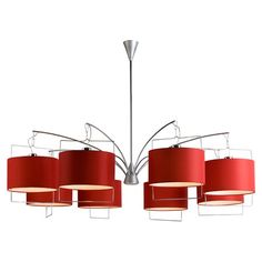 Chandelier With Suspended Red Drum Shades And Steel