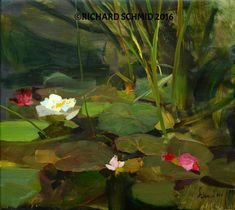 """Water Lilies"" Oil 14"" x 16"", 22 karat gold leaf custom frame. -SOLD- ©Richard Schmid 2016 This image is under strict copyright to the artist and may not be reproduced in any form"