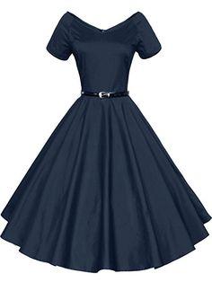 Mr.Shine - 40s 50s 60s Vintage V-Ausschnitt Schwingen Rockabilly Pinup Ballkleid Partei Kleid - Gr. S-XXXL (S, Royal-Blau): Amazon.de: Bekleidung