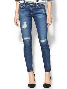 Distressed skinny jeans - low rise please! This is how I love my jeans to fit (and look!)