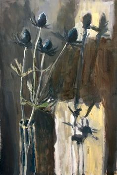 Nina's Thistles Oil painting by Domenica Brockman Thistles, Light And Shadow, Oil, Board, Artist, Artwork, Flowers, Plants, Painting