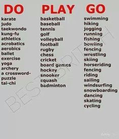 English Verbs for sport ✿ English Language / Learning English / Easy English… Grammar And Vocabulary, English Vocabulary Words, Learn English Words, English Study, Learn English Speaking, English Play, English Idioms, English Lessons, English Grammar