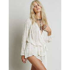 Free People Embellished Wrap Tunic featuring polyvore fashion clothing tops tunics wrap tunic free people tunic plunging neckline tops surplice top embellished tops
