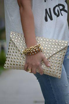 Gold studded bag