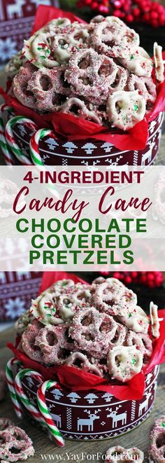 4-Ingredient Candy Cane Chocolate-Covered Pretzels: Need a last minute holiday treat or quick DIY gift idea? Make these Candy Cane White Chocolate Pretzels! No-bake and ready in 25 minutes! #nobake | #snacks | #Christmas | #diygifts |#ChristmasRecipes | #desserts | #candycanes | #easysnacks | #holiday | #quickrecipes