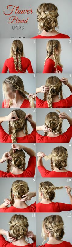 Cute Flower Braid Updo for Long Hair Tutorial – Tutorial Per Capelli Braided Hairstyles For Wedding, Braided Hairstyles Tutorials, Cool Hairstyles, Hairstyle Ideas, Classic Hairstyles, Romantic Hairstyles, Hair Ideas, Glamorous Hairstyles, Hairstyles For Long Hair Prom