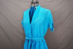 vintage 50s Dress  Baby Blue Silk Cocktail Shirt by jessamity, $46.00