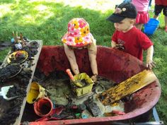 Glen Alton in Giles County offers a mud pie kitchen for kids on weekends throughout the summer. Mobile mud patch - easy way to create a temporary mud kitchen in a wheel barrow. Great for summer play or a messy play date. Backyard Play Spaces, Outdoor Play Spaces, Play Yard, Backyard Playground, Backyard For Kids, Backyard Ideas, Backyard Playhouse, Garden Kids, Playground Ideas
