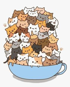 Count how many times to do it by how many cats there are in the cup! )A cup of strong catachino.) And some kawaii neko atsume kitties! Chat Kawaii, Kawaii Cat, Kawaii Shop, Neko Cat, Kawaii Stuff, Chibi Cat, Kawaii Things, I Love Cats, Crazy Cats