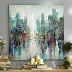 Abstractos River in the City - Cuadros Decorativos al Óleo New York Painting, City Painting, Inspiration Wall, Painting Inspiration, Africa Art, Wall Canvas, Art Techniques, Lovers Art, Les Oeuvres