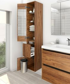 City Tower side storage in southern oak Bathroom Storage Solutions, Panel Doors, Design Your Own, Drawers, Tower, Vanity, Southern, Dressing Tables, Rook