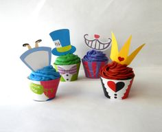 Instant Download - Alice in Wonderland Cupcake Wrappers and Toppers - DIY Printable Party Decorations