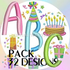 Birthday cap font - Cute Alphabets - Embroidery Fonts