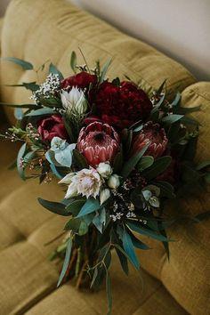 Protea Wedding, Spring Wedding Bouquets, Winter Wedding Flowers, Fall Wedding Bouquets, Bridal Flowers, Flower Bouquet Wedding, Bridesmaid Bouquet, Floral Wedding, Burgundy Wedding Flowers