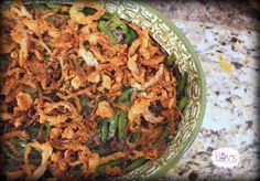 (Gluten Free, Grain Free, Diary Free, Nut Free, Vegan) Green Bean Casserole. Also, a link to a good looking cream of mushroom soup is included!