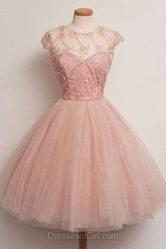 Princess Prom Dress, Tulle Prom Dresses, Scoop Neck Homecoming Dress, Pink Homecoming Dresses, Short Cocktail Dresses