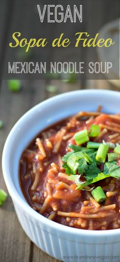 This Vegan Sopa de Fideo is pure Mexican Comfort Food. Think homemade Tomato Soup - with noodles. It comes together in minutes for a quick and hearty meal.