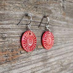 Ceramic jewelry earrings  spiral striped red by Brekszer on Etsy