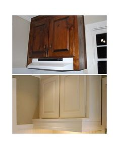 great DIY if you don't like your range hood! just cover it!