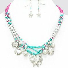 Mottled Sea Life Pearl Seed Bead Necklace 227742