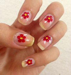Red flowers on clear nails , short nails, nail art at home