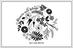 Hand drawn Flowers and Foliage in black and in white. Includes a total of 62 PNG files and 2 EPS files. Perfect for creating wedding invitations or blog decoration https://www.etsy.com/listing/187487624