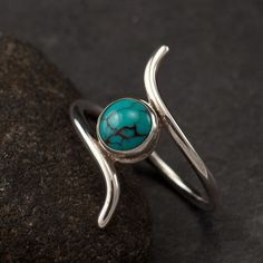 Turquoise ring- Sterling Silver Turquoise Ring -Silver Stone ring- sterling silver jewelry handmade- size 7. $48.00, via Etsy.