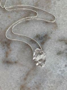 Minimalist Herkimer Diamond Pendant Talisman Handmade Bracelets, Handcrafted Jewelry, Unique Jewelry, Herkimer Diamond, Diamond Pendant, Jewellery Display, Crow, Sterling Silver Chains, Minimalist