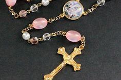 Pink Crystal Rosary. Pink Rosary. Beaded Rosary. Handmade Rosary. Catholic Holy Rosary. Traditional Rosary. Gold Rosary. Handmade Rosaries by Gilliauna from Bits n Beads by Gilliauna. Find it now at http://ift.tt/1qwlGoj!