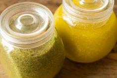 molho de mostarda e molho de manjericão para saladas!
