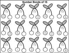 Free math printables for Kindergarten and Grade 1. Number Bonds of 15 colouring worksheet.