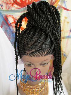 Fully Hand  Braided whole Lace Wig  Corn row  LULU by magicbraids