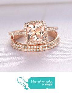 Princess Morganite Engagement Ring Pave Diamond Wedding 3 Rings Set 14K Rose Gold 7mm,Cushion Halo from the Lord of Gem Rings https://www.amazon.com/dp/B01HIK6BGG/ref=hnd_sw_r_pi_dp_WEXDxbA3C4XB8 #handmadeatamazon