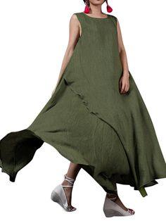 Hot-sale O-NEWE Vintage Solid Sleeveless Irregular Maxi Dress For Women - NewChic