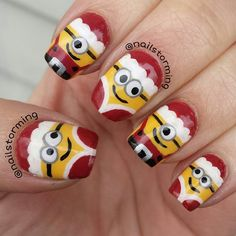 Omgoodness!!!! Love these!!!! christmas nails minion