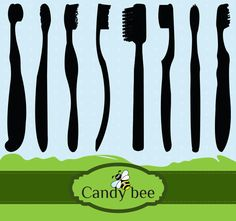 Different brands, different toothbrushes, Toothbrush Silhouette Clipart added here. Dental Shirts, Silhouette Clip Art, Bee Design, Party Banners, Buy 1 Get 1, Scrapbook Supplies, Vector Design, My Etsy Shop, Templates