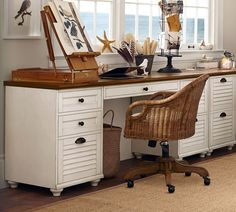 Create your perfect work space with our Whitney Rectangular Desk Set. With beautiful details such as shuttered doors and bun feet, it brings beauty as well as utility to the home office. Wood Drawers, Small Drawers, Desk With Drawers, Desk Redo, Diy Desk, Neat Desk, Retro Furniture, Office Furniture, Furniture Ideas