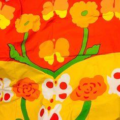 Vintage Marimekko Ibir Fabric Maija Isola Finland 1972 Orange Yellow Green  92x98 e51a51776f