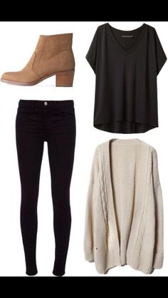 Casual, comfy and cute outfit with short heeled boots and a long sweater