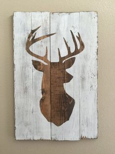 White Distressed Deer Head Silhouette Wood Sign - Art - Home Decor …