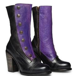 a48f6400302c Amelia Poison Leather Button Snap Womens Purple Zip Granny Boots