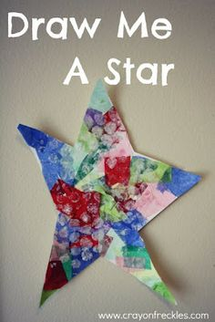 Tissue paper star with bubble wrap white paint on top-- from crayonfreckles
