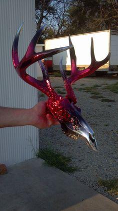 Red Black Candy Chrome Deer Skull by Alternative Chrome Creations http://www.facebook.com/AlternativeChromeCreations