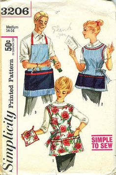 """Vintage 1959 Simplicity 3206 Misses' and Men's Apron and Pot Holder: """"Simple to Make"""" Sewing Pattern Size Small 10 - 12 Bust - by on Etsy Vintage Apron Pattern, Aprons Vintage, Vintage Sewing Patterns, Sewing Ideas, Sewing Projects, Vintage Stuff, Sewing Tutorials, Vintage Shops, Vintage Ladies"""
