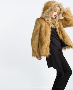 Image 3 of JACKET WITH FAUX FUR HOOD from Zara