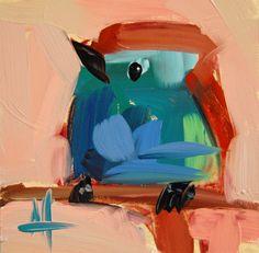 Racket-Tailed Roller bird original oil painting by Angela Moulton #prattcreekart #birdpainting
