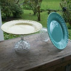 make a cake stand with dollar store plates and glasses